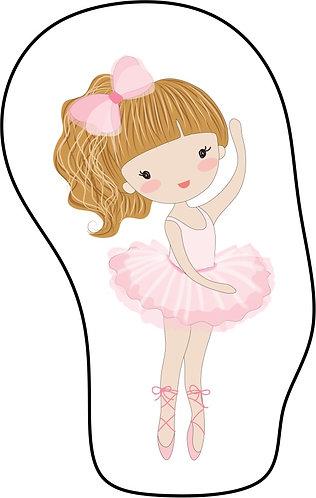Mini Almofada no formato do desenho: uma bailarina branca de cabelos alaranjados e vestido rosa