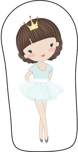 Mini Almofada no formato do desenho: uma bailarina branca de cabelo castanho e roupa verde agua