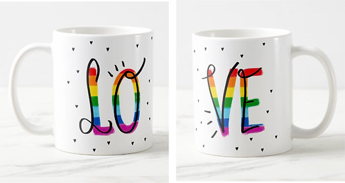 Caneca Namorados Love Rainbow