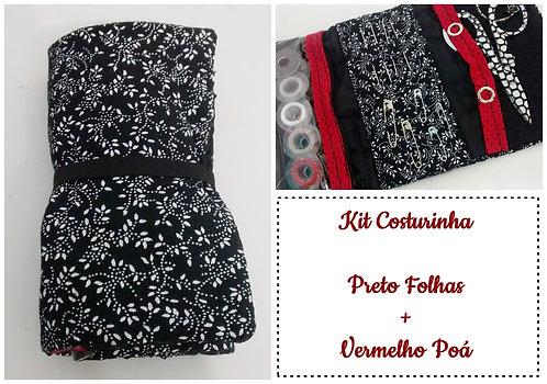 Kit Costurinha - Folhagens Preto + Vermelho Poá