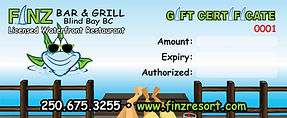 Finz bar and grill licensed gift certificate