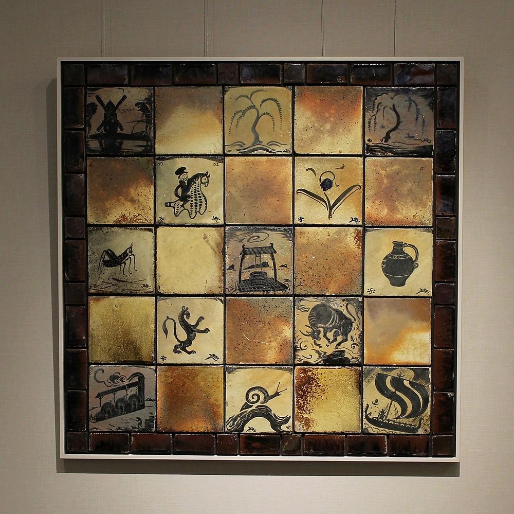 Bernard Leach  Panel of tiles  c.1931  w92.0 h92.0 cm