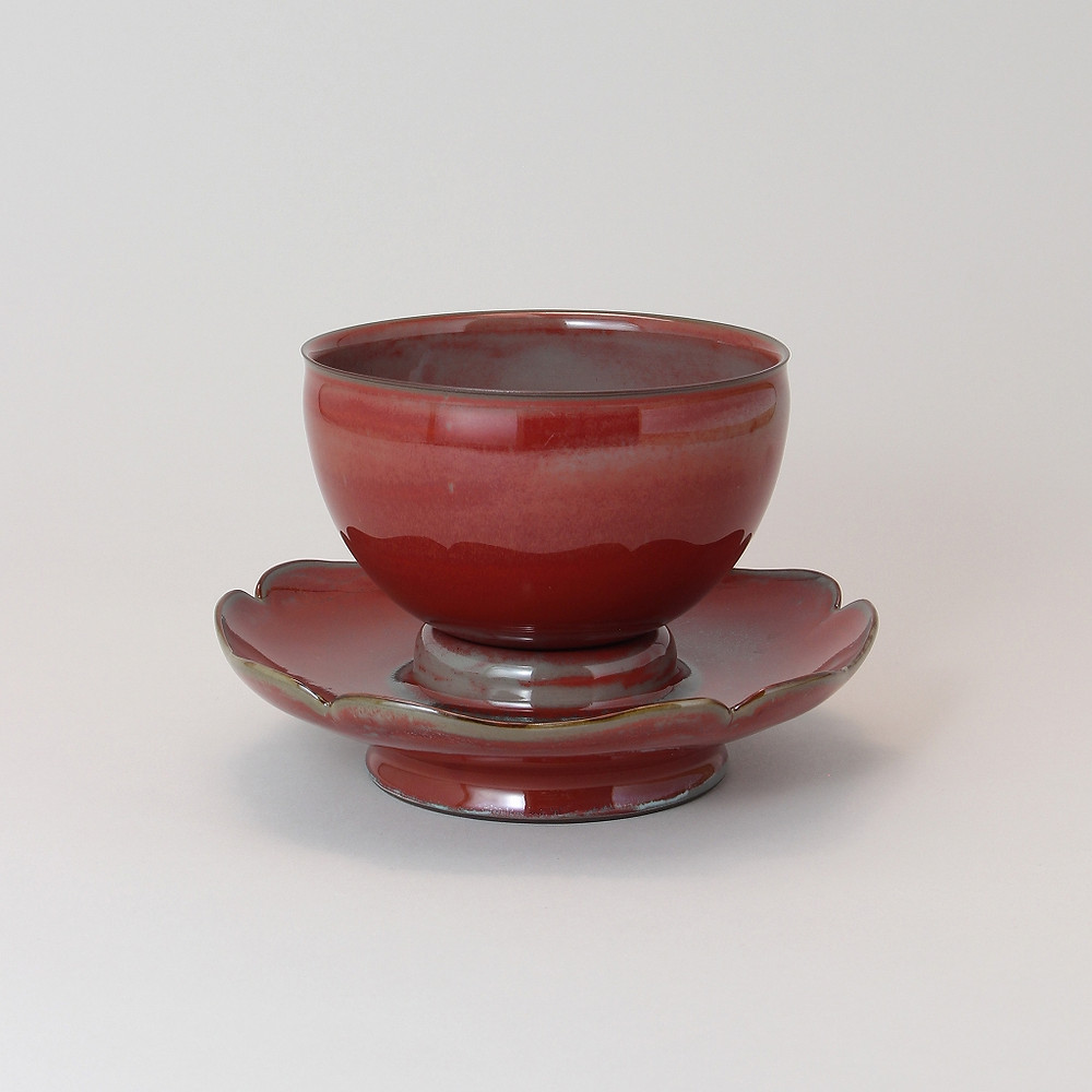 Kawase Shinobu  Tea Bowl and stand, Ceradon, Kakuji-type  2016  w16.9 h11.0 (all included size)