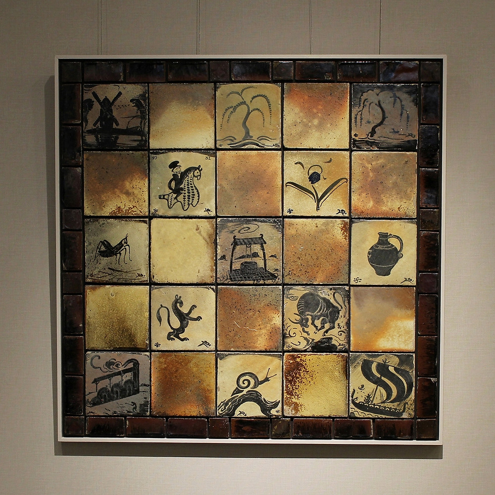 バーナード・リーチ 鉄絵組合せ陶板 1931年頃 w92.0 h92.0 cm