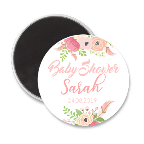 Magnet Baby Shower - Sweet Pink flowers