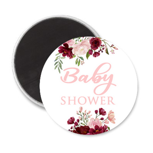 Magnet Baby Shower - Pink & Red flowers