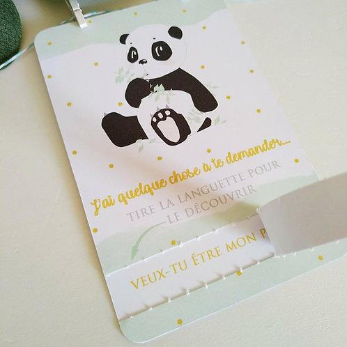 .. Carte avec languette demande parrain - Panda..