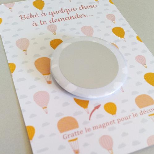 """..Carte Magnet à gratter - """"Dans les nuages"""" rose.."""