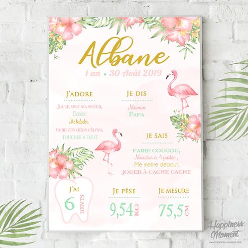 .. Affiche Anniversaire - Flamingo Pastel ..
