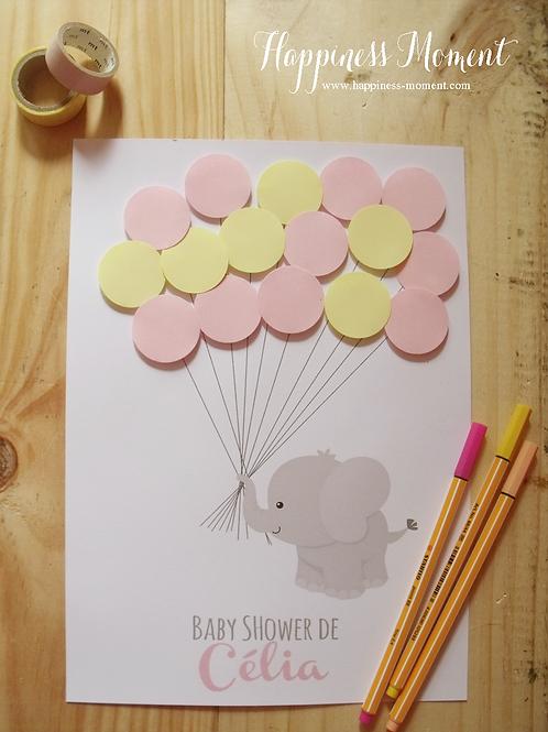 .. Affiche Souvenir Ballons - Baby Shower ..