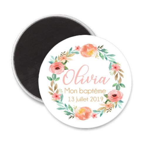 Magnet Baptême - Couronne de fleurs estivale