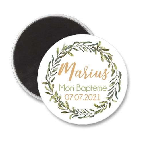 Magnet Baptême - Couronne de feuillage