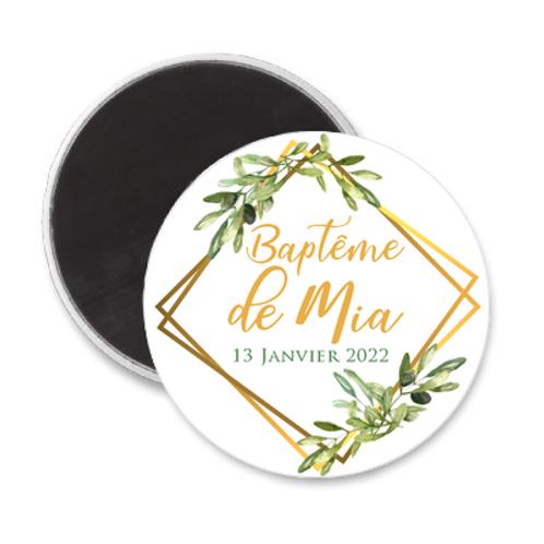 Magnet Baptême - Chic & feuilles d'olivier