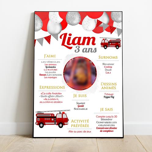 .. Affiche Anniversaire - Pompier ..