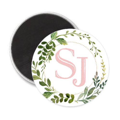 Magnet Mariage - Feuillage & Initiales