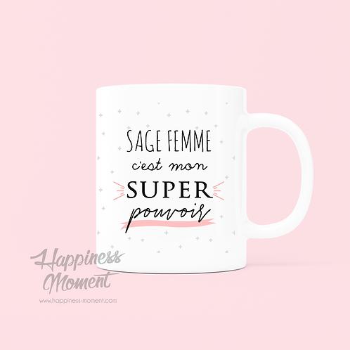 .. Joli mug Super pouvoir - Sage Femme ..