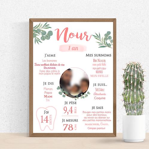 .. Affiche Anniversaire - Pink Eucalyptus ..