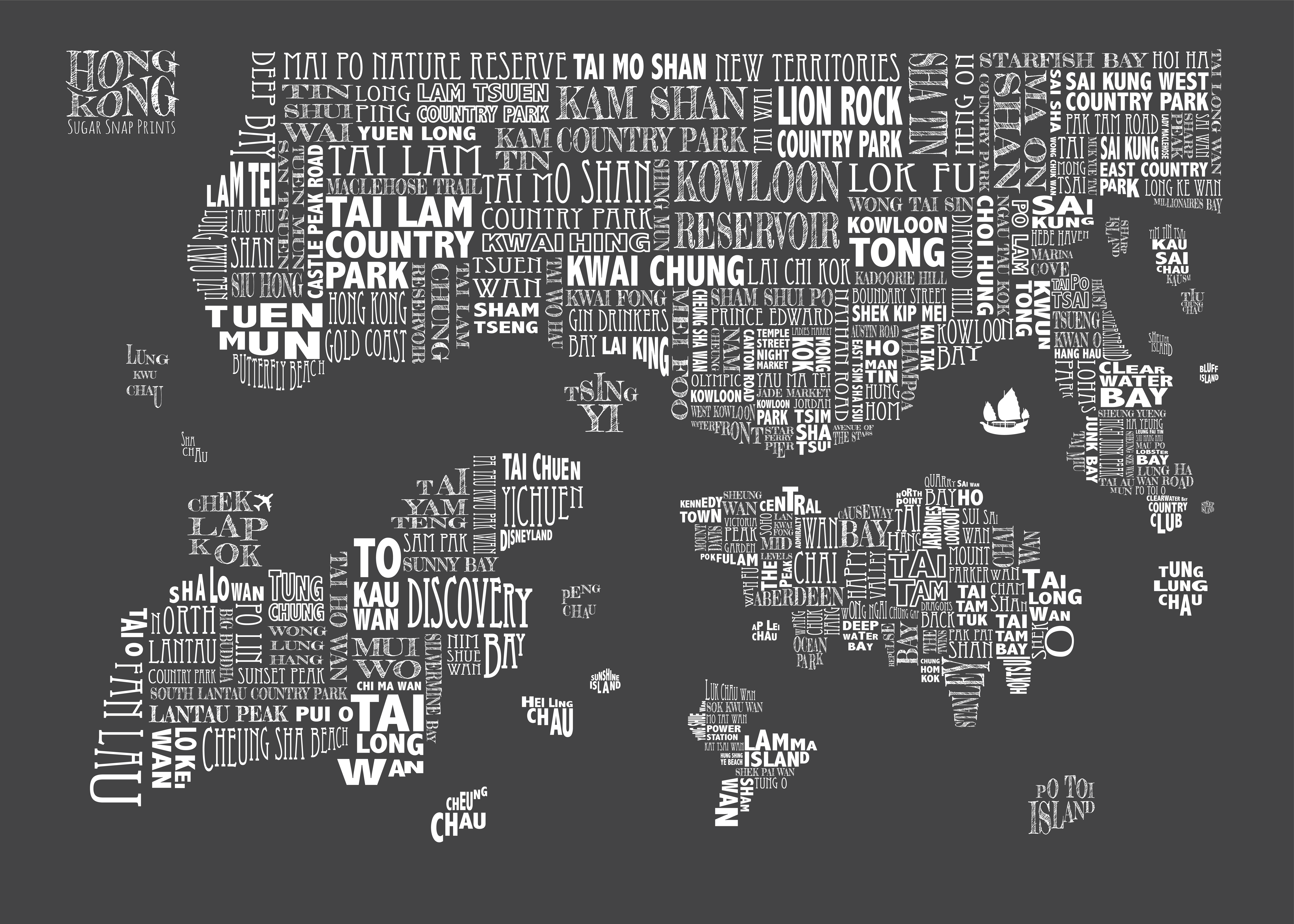 charcoal HONG KONG MAP