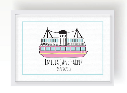 PINK STAR FERRY PERSONALISED PRINT