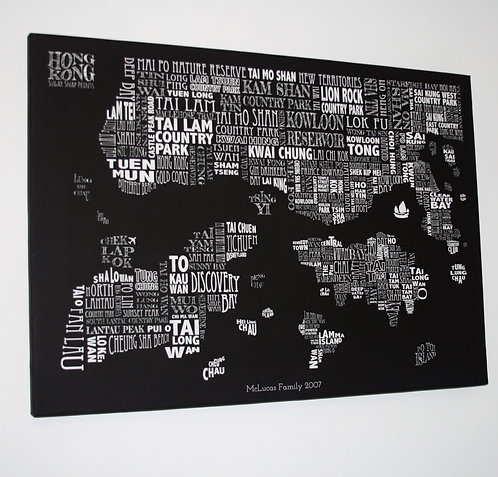 HONG KONG TYPOGRAPHIC MAP CANVAS