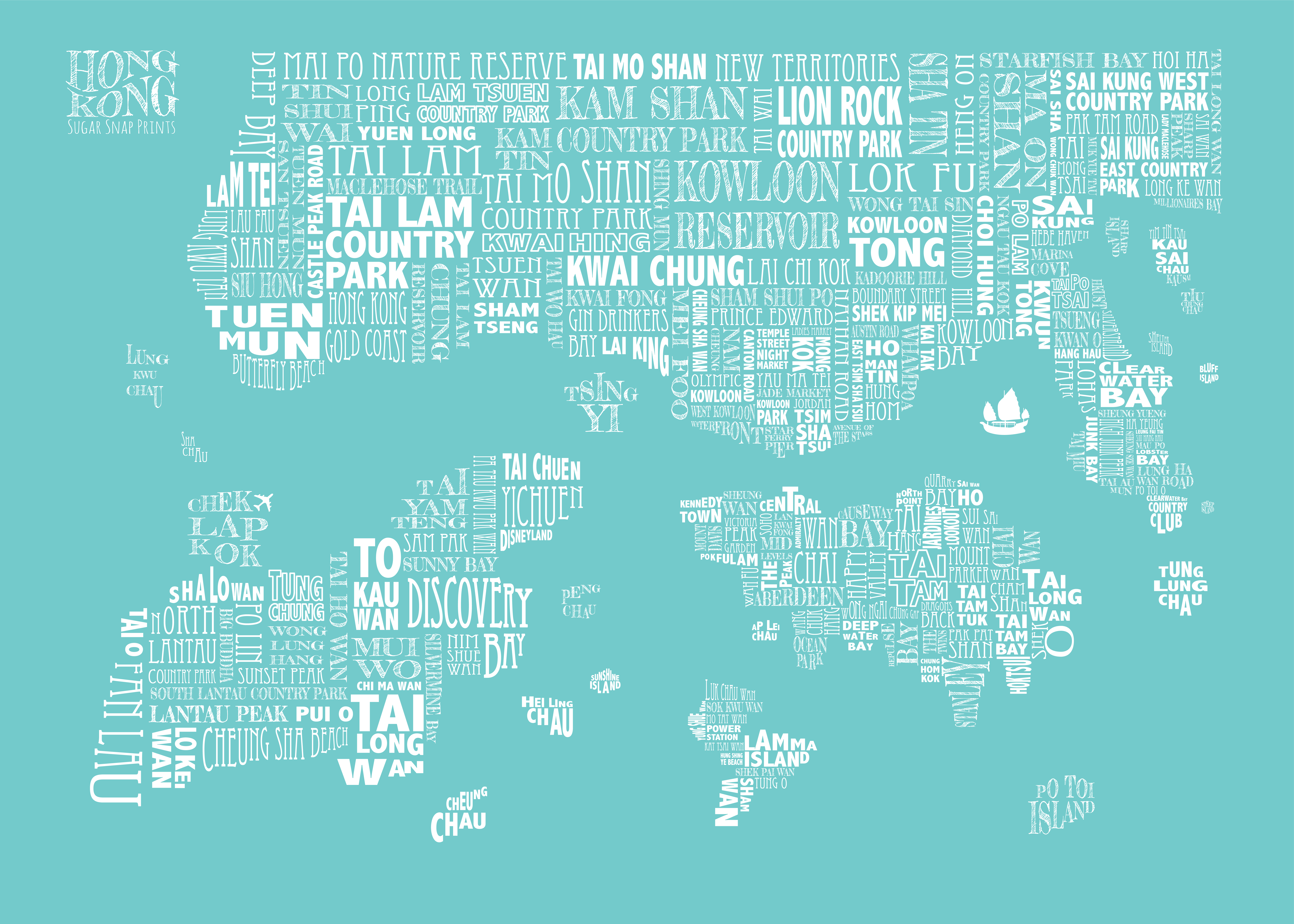 turquoise HONG KONG MAP