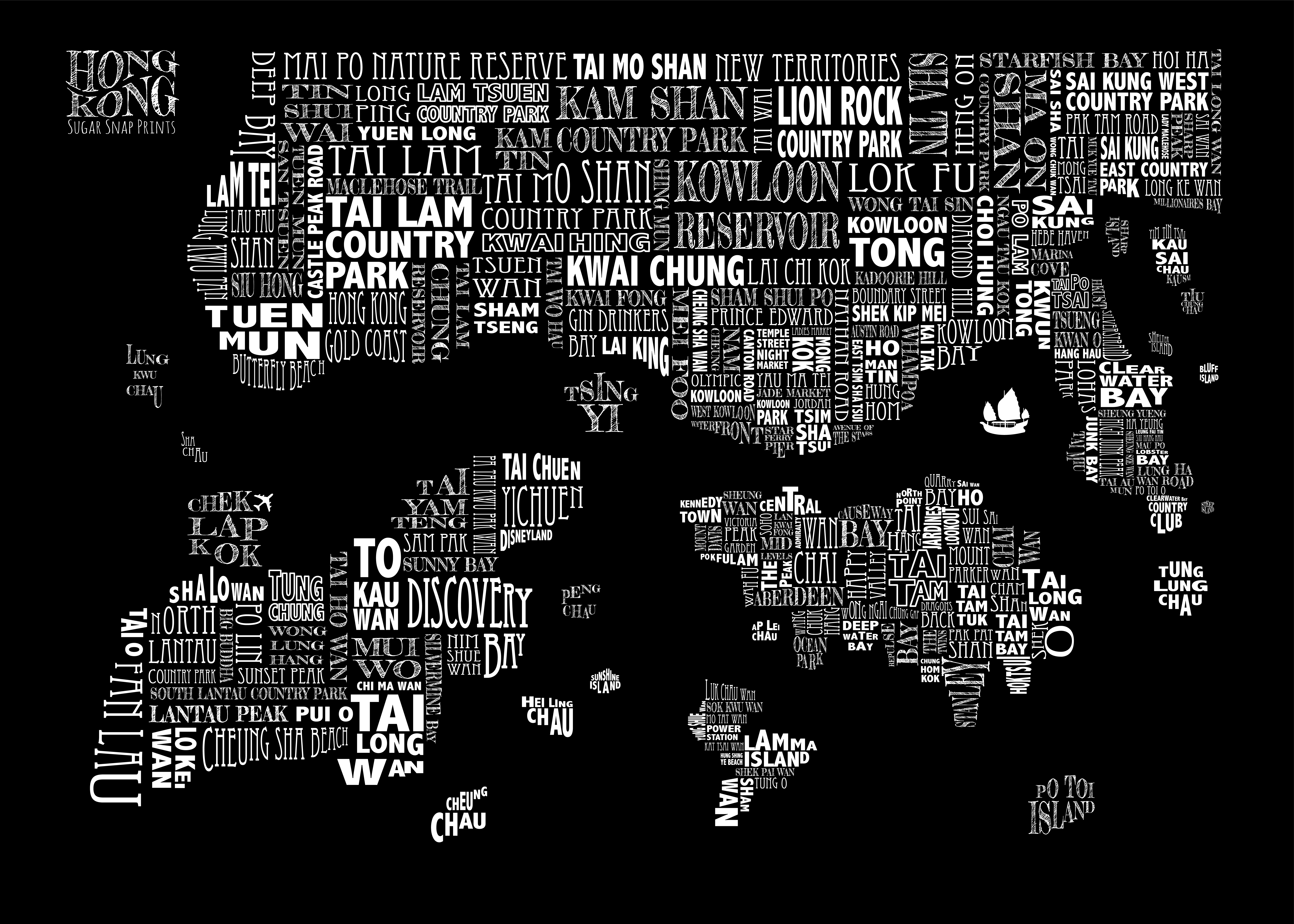 black HONG KONG MAP