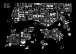 black HONG KONG MAP