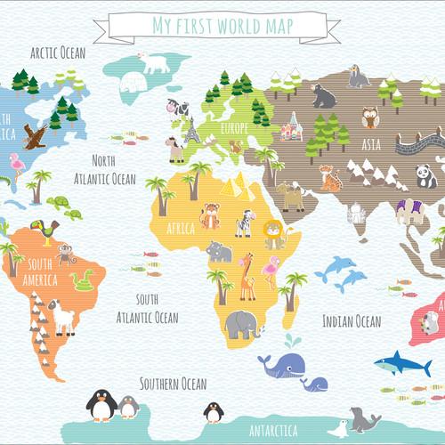 Sugar Snap Prints - Southern ocean in world map
