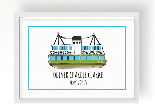 GREEN STAR FERRY PERSONALISED PRINT