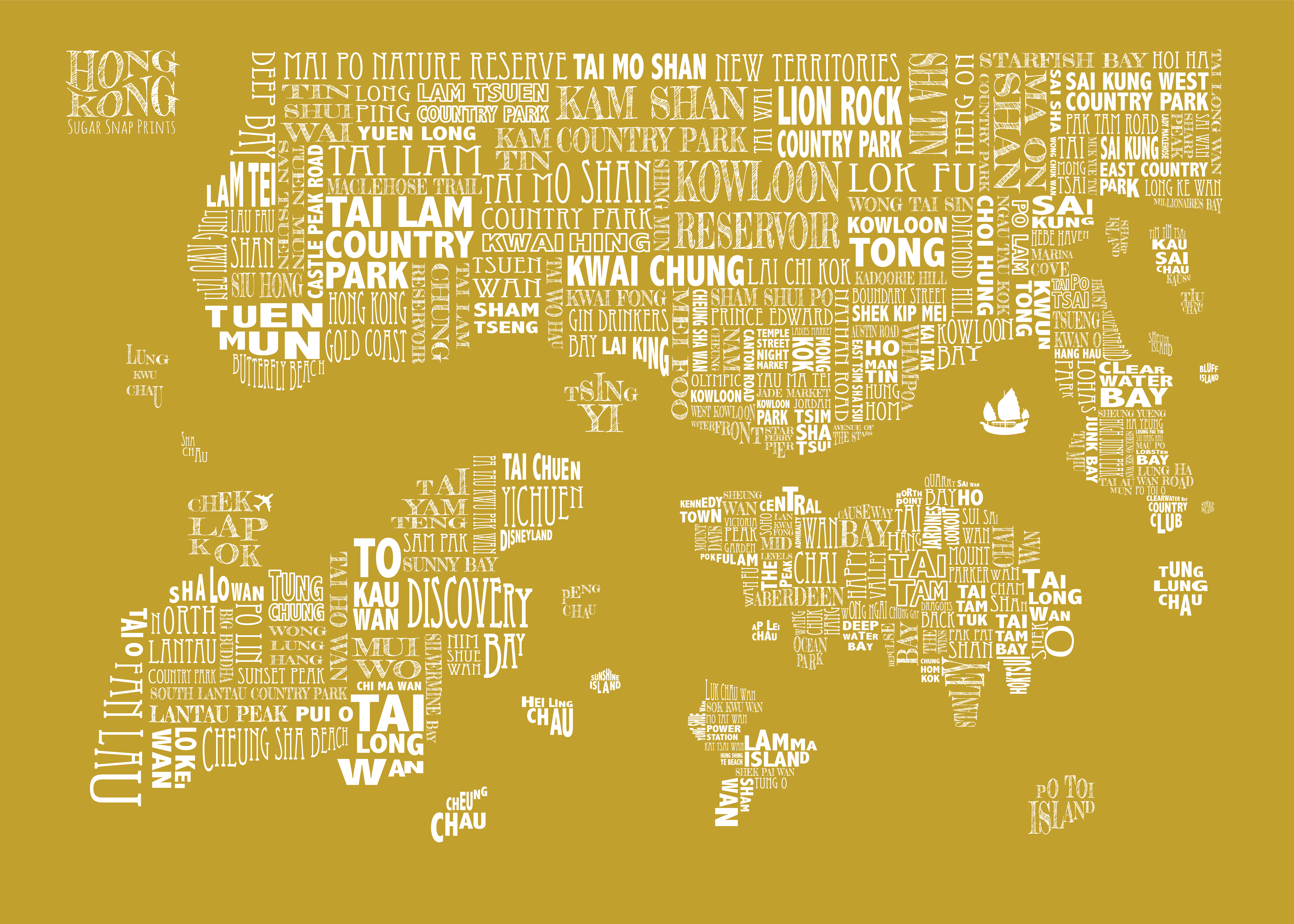 mustard HONG KONG MAP 50x70 print