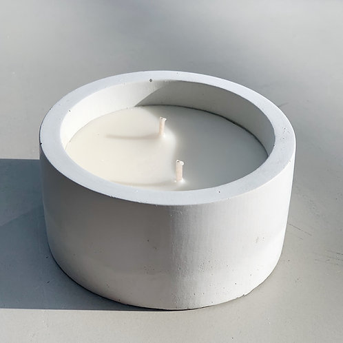 Large Concrete Double Wicked Soy Candle - Handpoured with lid