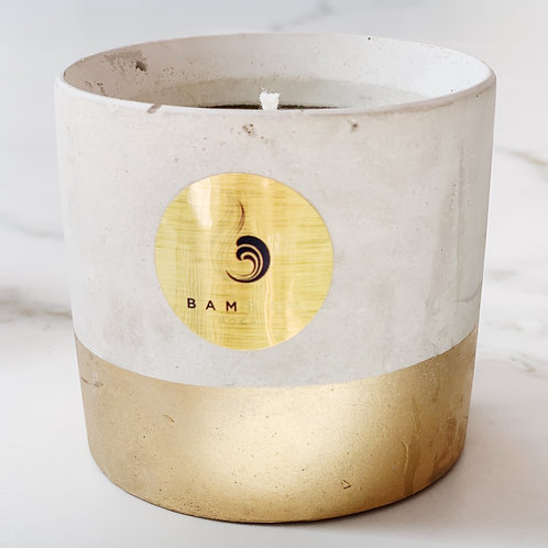 'Concrete Gold' Circular Hand Poured Soy Candle.