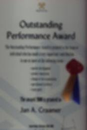 Outstandin Performance Award 2000-Jan Craamer