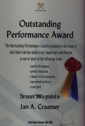 Outstandin Performance Award 2000-Jan Craamer