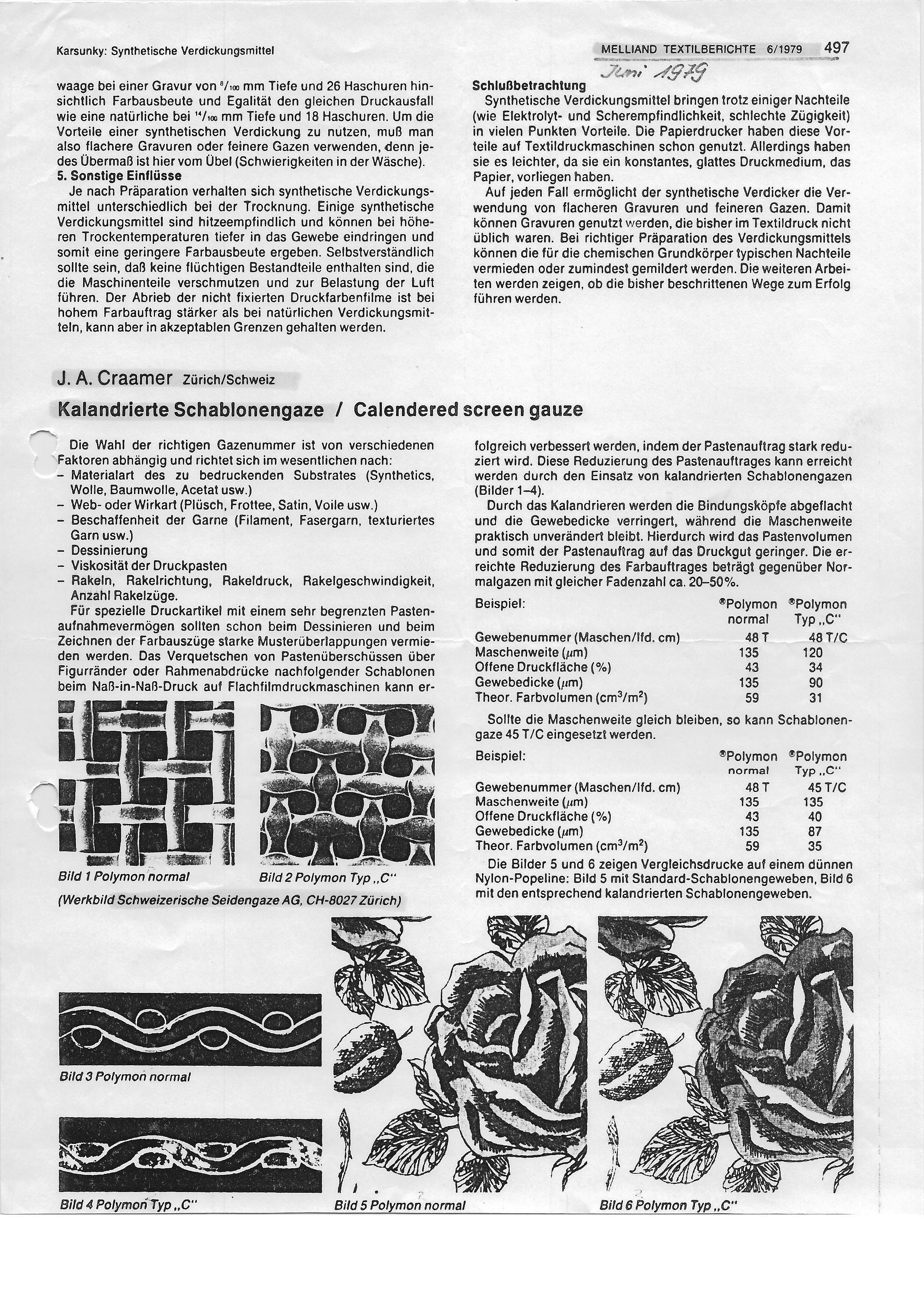 Kalandrierte Schablonengazen
