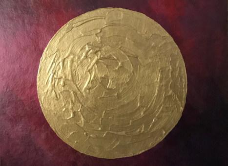 Goldener Kreis auf rotem Hintergrund