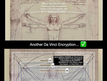 Da Vinci's Vitruvian Man Indicates the Perfect Squaring (area = π) of the Circle