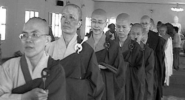 Sangha ready to descend Meditation Hall One.JPG