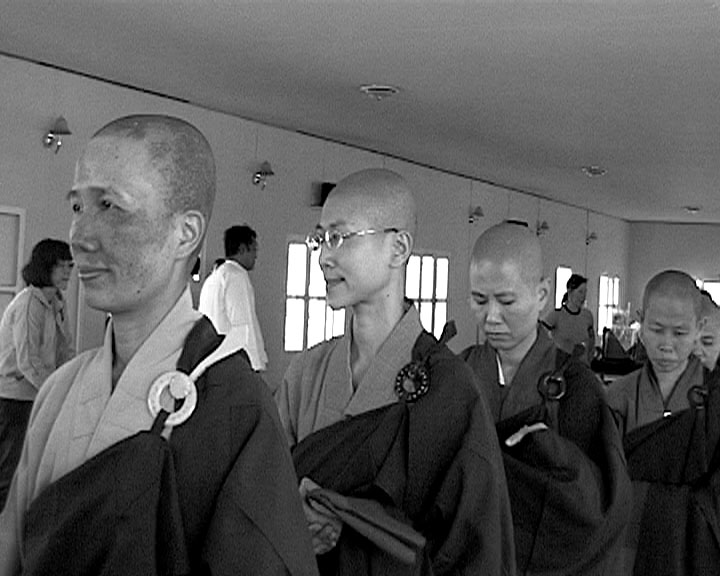 Sangha ready to descend Meditation Hall Two.JPG