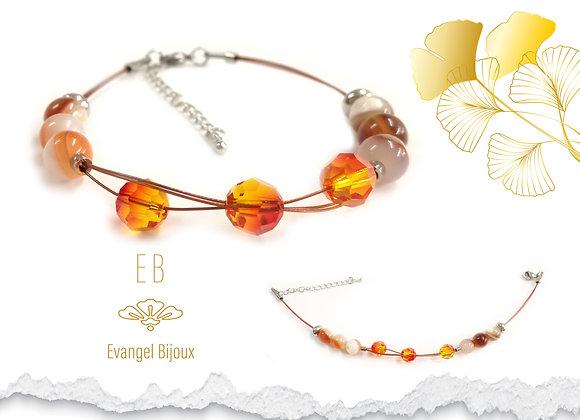 Bracelet Sardoine et Cristal Autrichien
