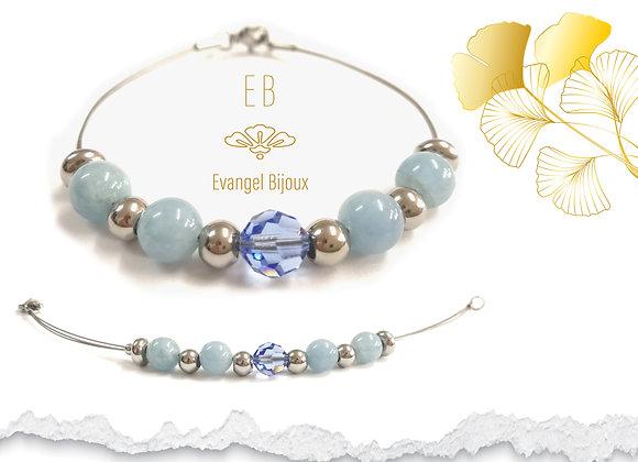 Bracelet Aigue Marine et Cristal Autrichien
