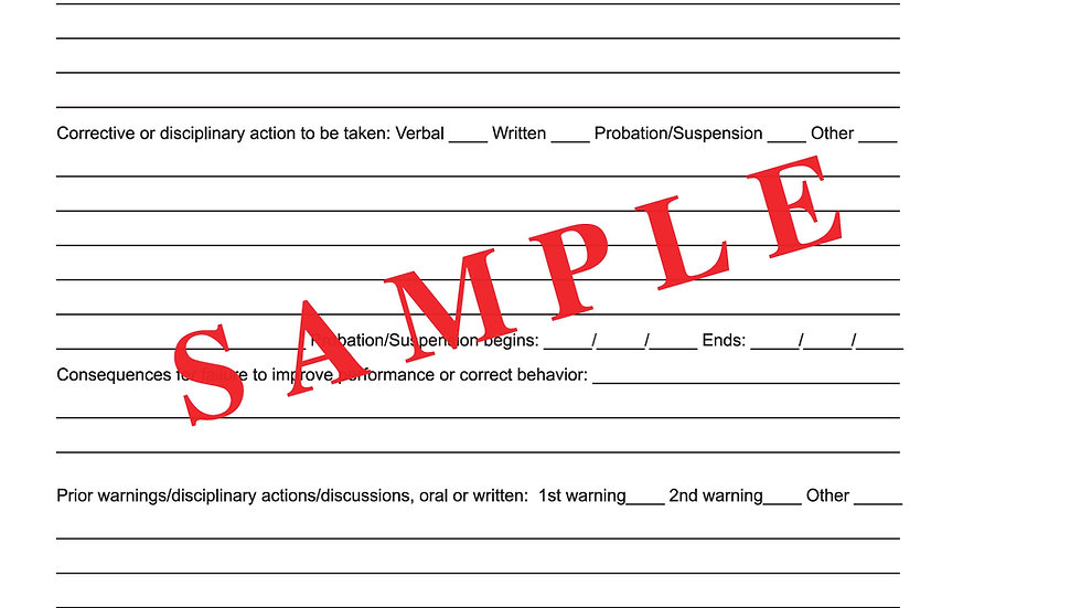 employee disciplinary action report
