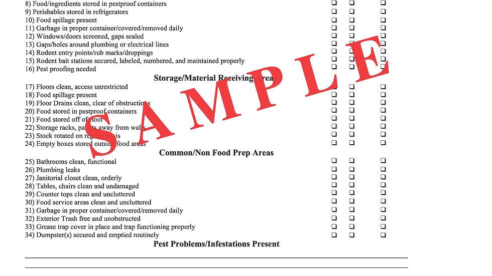 Sanitation/Pest Inspection Report