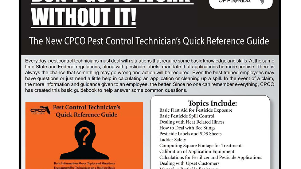 Pest Control Technician's Quick Reference Guide