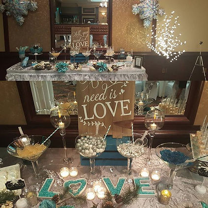 Winter Wonderland themed sweet table. Pt