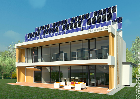 Проект пассивного дома, энергоактивный дом, дом с солнечными панелями, инновационный дом, дом с панорамным остеклением