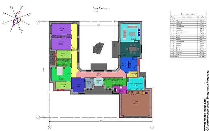 Дом в минималистичном стиле с эксплуатируемой кровлей и патио. План дома