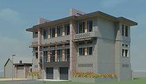 Трехэтажный кирпичный дом