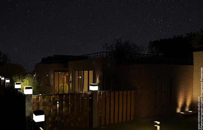 Дом Hardangervidda. Ограждение участка ночью
