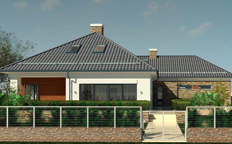 Главный фасад дома, дом по польскому проекту